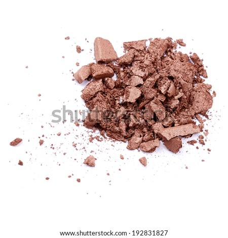 Brown eye shadow over white background