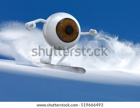 brown eyeball with arms and legs that is doing snowboarding, 3d illustration