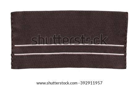 brown fabric label isolated on white background