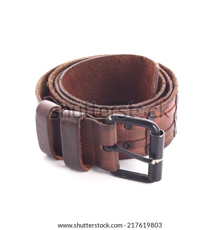 brown leather belt fashion for men on white background