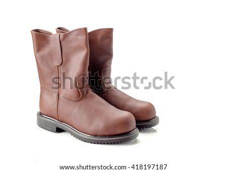 Brown leather boot isolated on white background