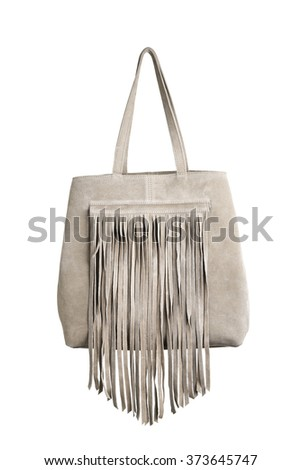 Brown leather purse with fringes isolated on white