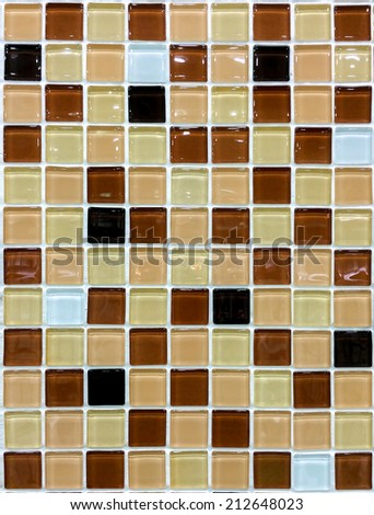 Brown Mosaic tile wall background texture