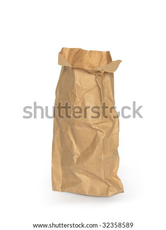 Brown open paper bag isolated on white background with clipping path