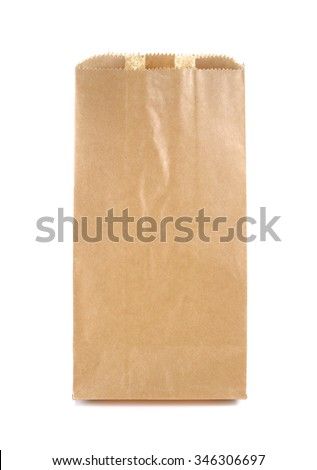Brown Paper Bag isolated on a white background