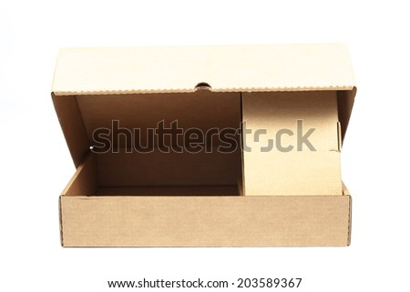 Brown paper box on white background. Rectangular paper box on a white background. Can be deployed easily.