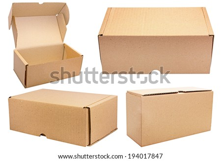 Brown paper carton boxes collage. isolated. Set of boxes.