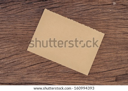 Brown Paper on wood
