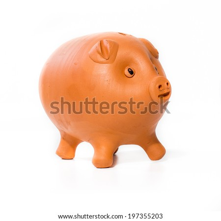 Brown piggy bank on white background