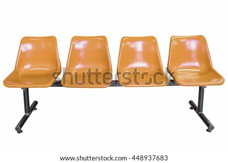 Brown plastic chairs isolated on white background.