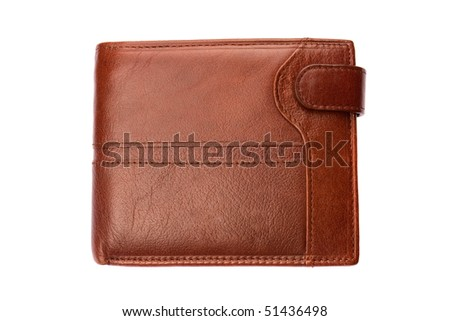 Brown shiny wallet isolated on white background