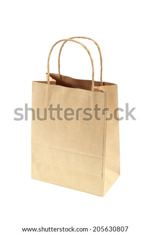 Brown Shopping Bag with Handles Isolated on White