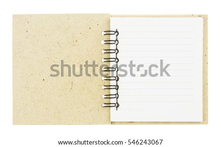 Brown spiral notebook isolated on white background