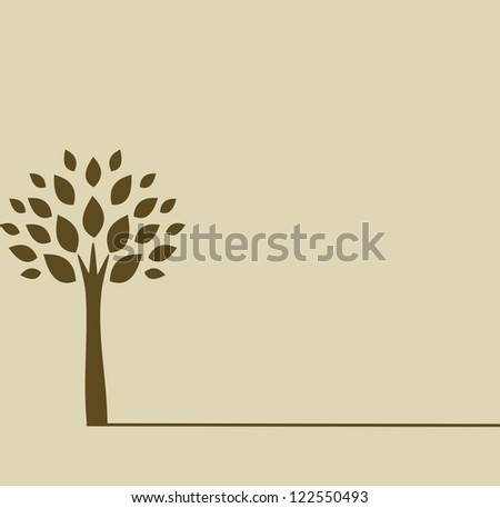 brown tree silhouette isolated on tan color background