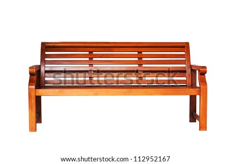 Brown wooden bench in the white background