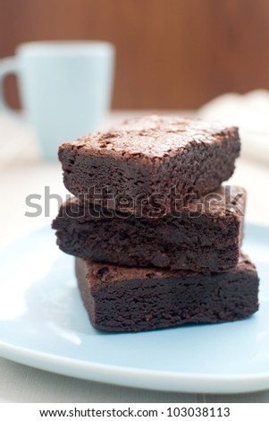 Brownies with cup of tea