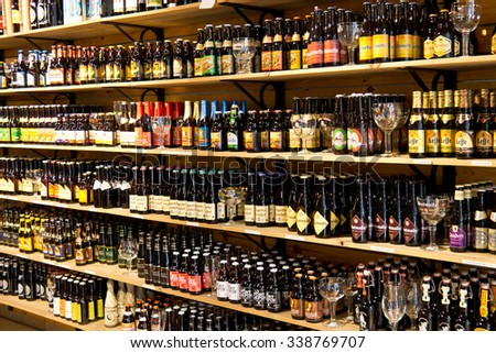 BRUGES/BELGIUM - April 14, 2014:  Beer bottles for sale on display in Bruges, Belgium