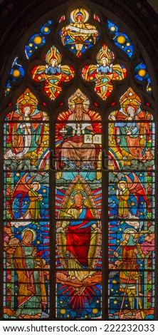BRUGES, BELGIUM - JUNE 13, 2014: Jesus Christ from windowpane (19. cent.) in st. Giles (Sint Gilliskerk).