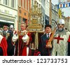 BRUGGE MAY 5: The Holy Blood Procession in Bruges, The Holy Blood Graal, MAY 5, 2005 in Brugges, Belgium, MAY 5, 2005 in Brugges, Belgium - stock photo