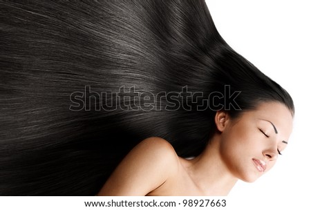brunette girl with  healthy long shiny hair