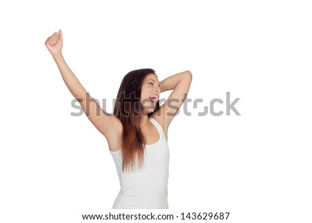 Brunette girl yawning and stretching morning isolated on white background