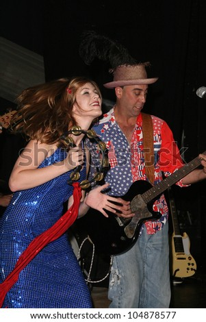 Bruno Frasca and Natalie Wilde at the America Welcomes Harry The Dog and the Traveling Soul Circus concert featuring Gibson USA custom guitars, Unknown Theater, Hollywood, CA. 04-17-2009