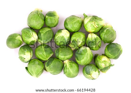 Brussel Sprouts isolated on a white background.