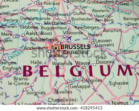 BRUSSELS, BELGIUM - CIRCA MAY 2016: Detail of a map of the city with selective focus on town name