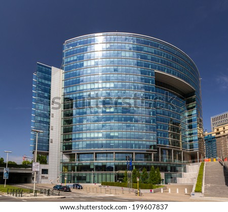 BRUSSELS, BELGIUM - JUNE 7: Lex building of the Council of the European Union in Brussels on June 7, 2014. The building was built in 2006.