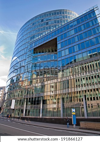 BRUSSELS, BELGIUM - JUNE 24, 2012: Modern building from center of the city in evening light.
