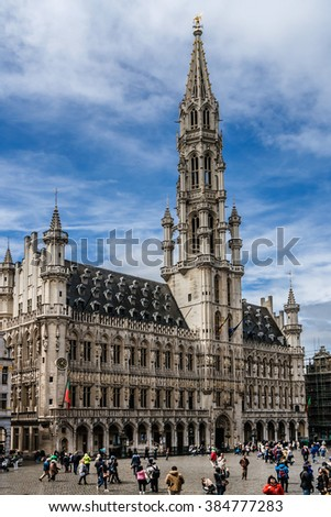 BRUSSELS, BELGIUM - MAY 11, 2014: Historical Buildings of the famous Grand Place (Grote Markt) - the central square of Brussels. Grand Place was named by UNESCO as a World Heritage Site in 1998.