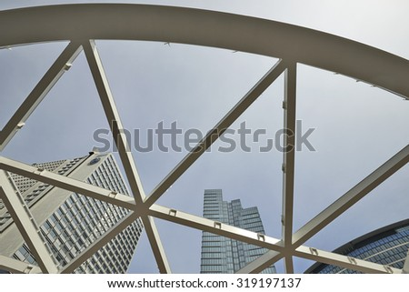 BRUSSELS, BELGIUM - SEPTEMBER 12, 2015:  At Place Rogier in Brussels the steel girders for the foundation of for the future canopy has been placed in Brussels, Belgium