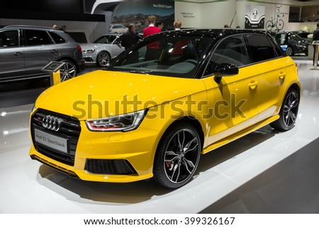BRUSSELS - JAN 12, 2016: Audi S1 Sportback on display at the Brussels Motor Show.