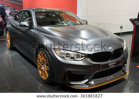 BRUSSELS - JAN 12, 2016: BMW M4 GTS Coupe shown at the Brussels Motor Show.