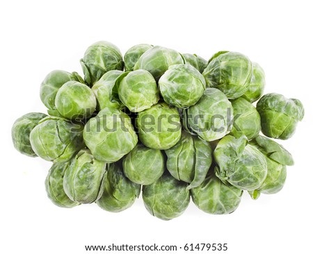 Brussels sprouts in closeup over white background