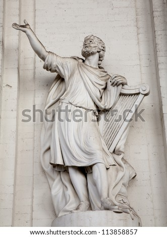 Brussels - statue of king David from facade of st. Jacques church
