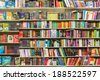 BUCHAREST, ROMANIA - APRIL 20, 2014: International Books On Library Shelf On April 20, 2014 In Bucharest, Romania. - stock photo