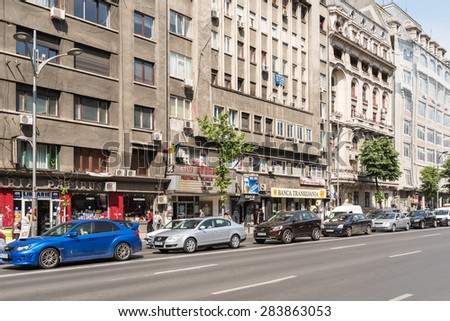 BUCHAREST, ROMANIA - JUNE 03, 2015: Rush Hour Traffic In Downtown Roman Square (Piata Romana) Of Bucharest City.