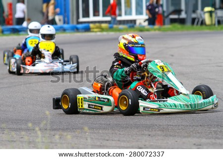 BUCHAREST, ROMANIA - MAY 16: Vlad Ceanga, number 99, competes in National Karting Championship, Round 1, on May 16, 2015 in Bucharest, Romania.