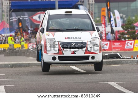 BUCHAREST,ROMANIA - SEPTEMBER 02: Stoica Vlad Stefan drives a Citroen C2R2 Max car during Rally of Romania 2011 championship on September 02, 2011 in Bucharest, Romania.
