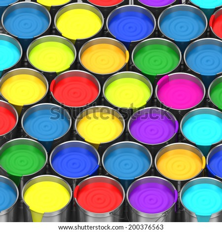 buckets of paint on a white background