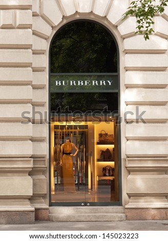 BUDAPEST - CIRCA SEPTEMBER 2012: Burberry fashion store on Andrassy street, circa September 2012 in Budapest, Hungary. This store of 205 square meters opened in 2008.