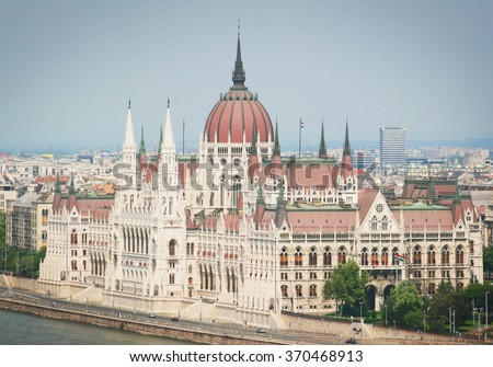 Budapest. Houses of Parliament. View of the city.