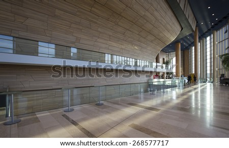 BUDAPEST, HUNGARY - April 11: Interior of the Palace of Arts (MUPA) as on April 11, 2015 in Hungary. MUPA is the most popular music hall and cultural center in Budapest, now 10 years old.