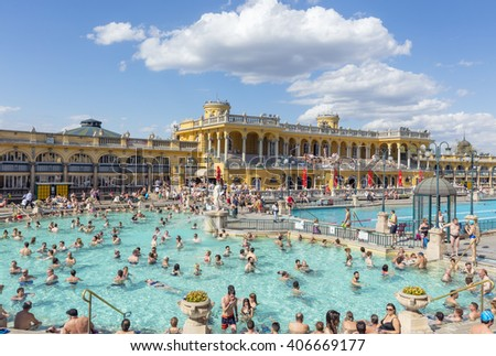 Budapest, Hungary. April 16, 2016: Szechenyi Baths in Budapest in Hungary on a sunny day.