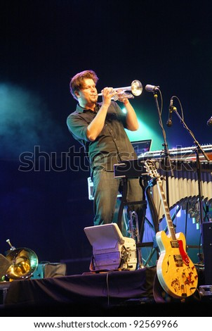 BUDAPEST, HUNGARY - AUG 12: The indie rock band Calexico in concert at the annual Sziget music festival on Wednesday, August 12, 2009 in Budapest, Hungary
