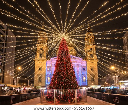 BUDAPEST, HUNGARY - 8 DECEMBER, 2016: Christmas Fair in Budapest. From Advent to New Year the square in front of the Basilica gives home to a charming Christmas fair