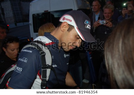 BUDAPEST, HUNGARY-  JULY 30: F1 driver Pastor Maldonado is among his fans and giving autographs on July 30, 2011 in Budapest, Hungary.