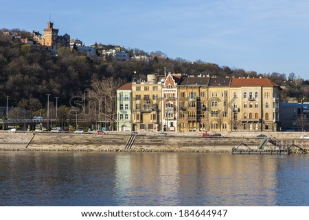 Budapest, Hungary, March 20, 2014 . View of the bank of the Danube