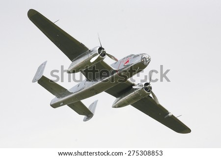 BUDAPEST, HUNGARY - MAY 1: North American B-25 Mitchell flying as part of the air show on May 1 celebration of 2014, Budapest, Hungary